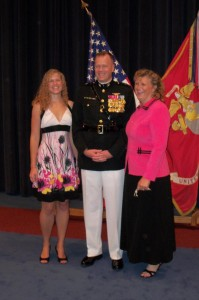 Mark Wise's promotion to Brigadier General with daughter Heather on left and wife Terri to his right.