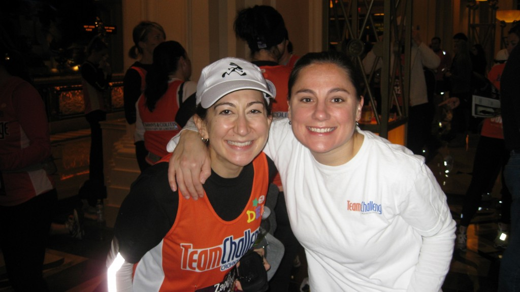Jennifer with CCFA walk manager Deborah Jacoby at the Vegas Rock 'n Roll Half Marathon, as part of Team Challenge for Crohn's and Colitis. CCFA is the official charity of the event.  Photo courtesy of Jennifer Simmons O'Connor