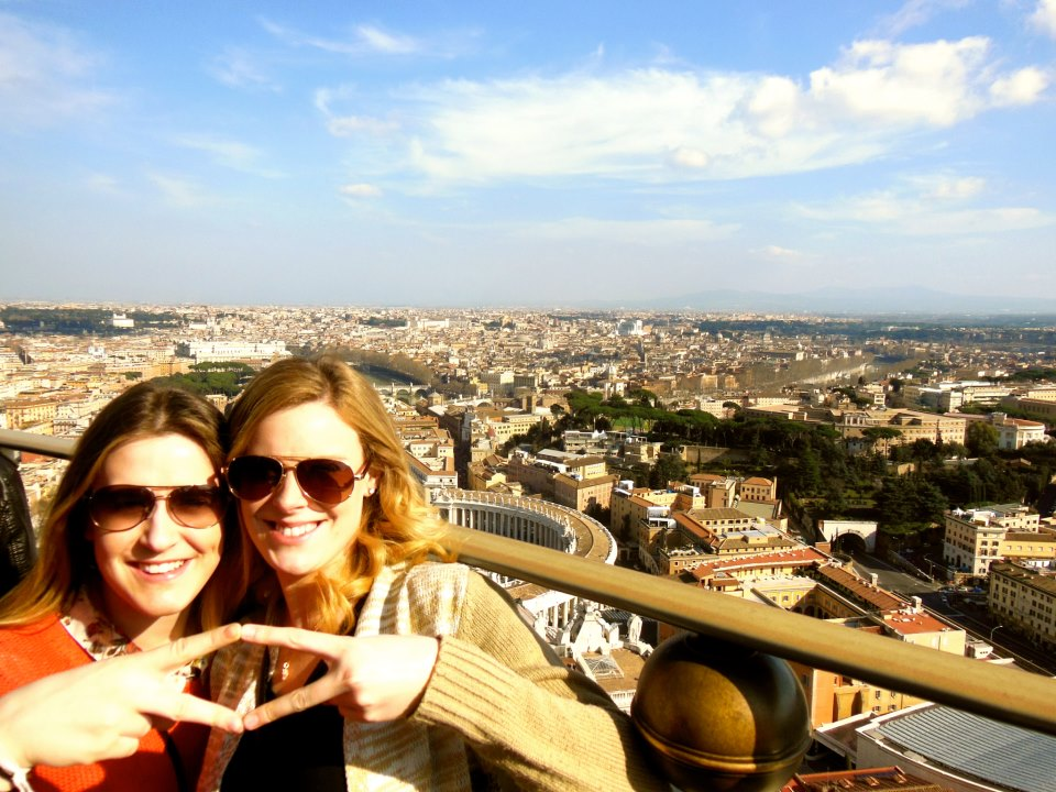 Kayle Allen (R) and McKenna Blenz at the top of the St. Peter's Basilica in Vatican City.