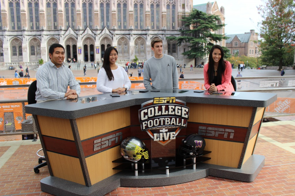 Students on the set of GameDay