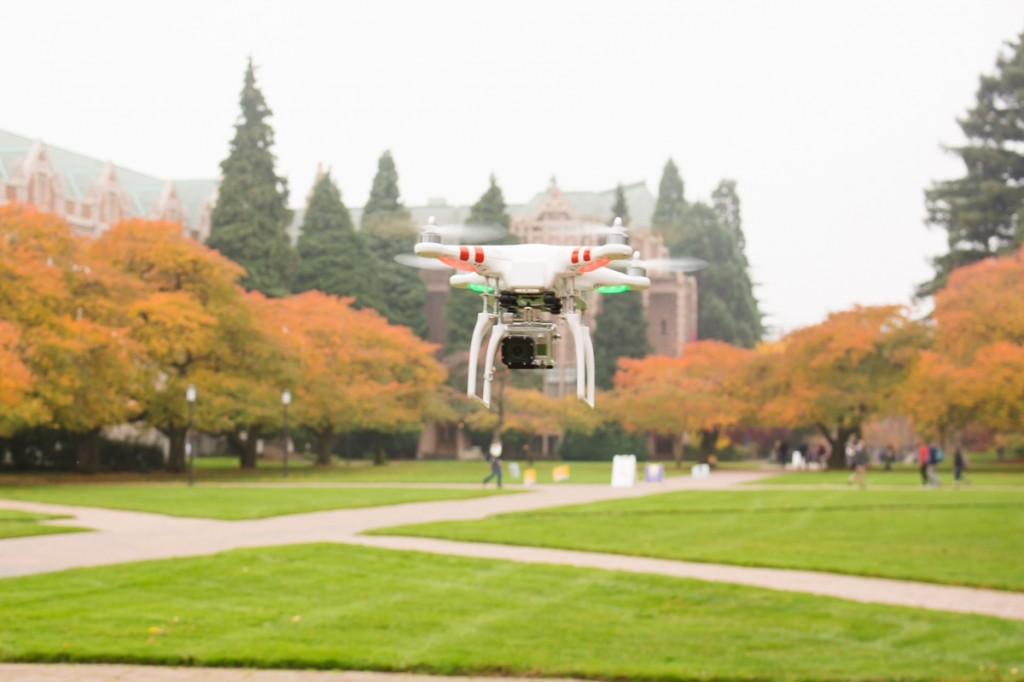 The multirotor aircraft hovers over the quad.