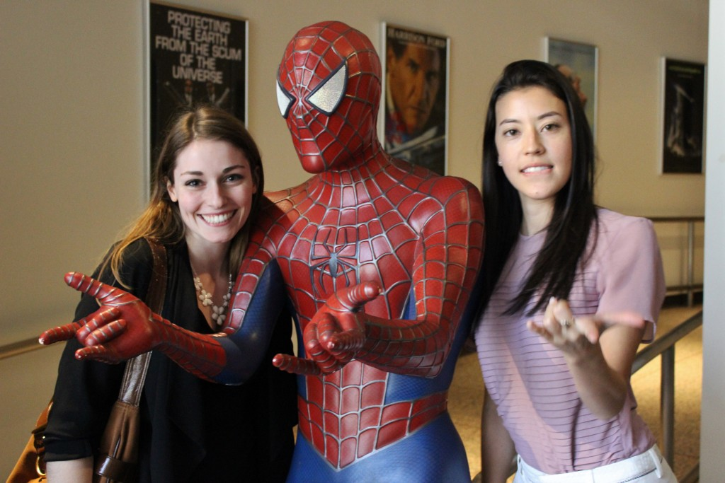 students with spiderman